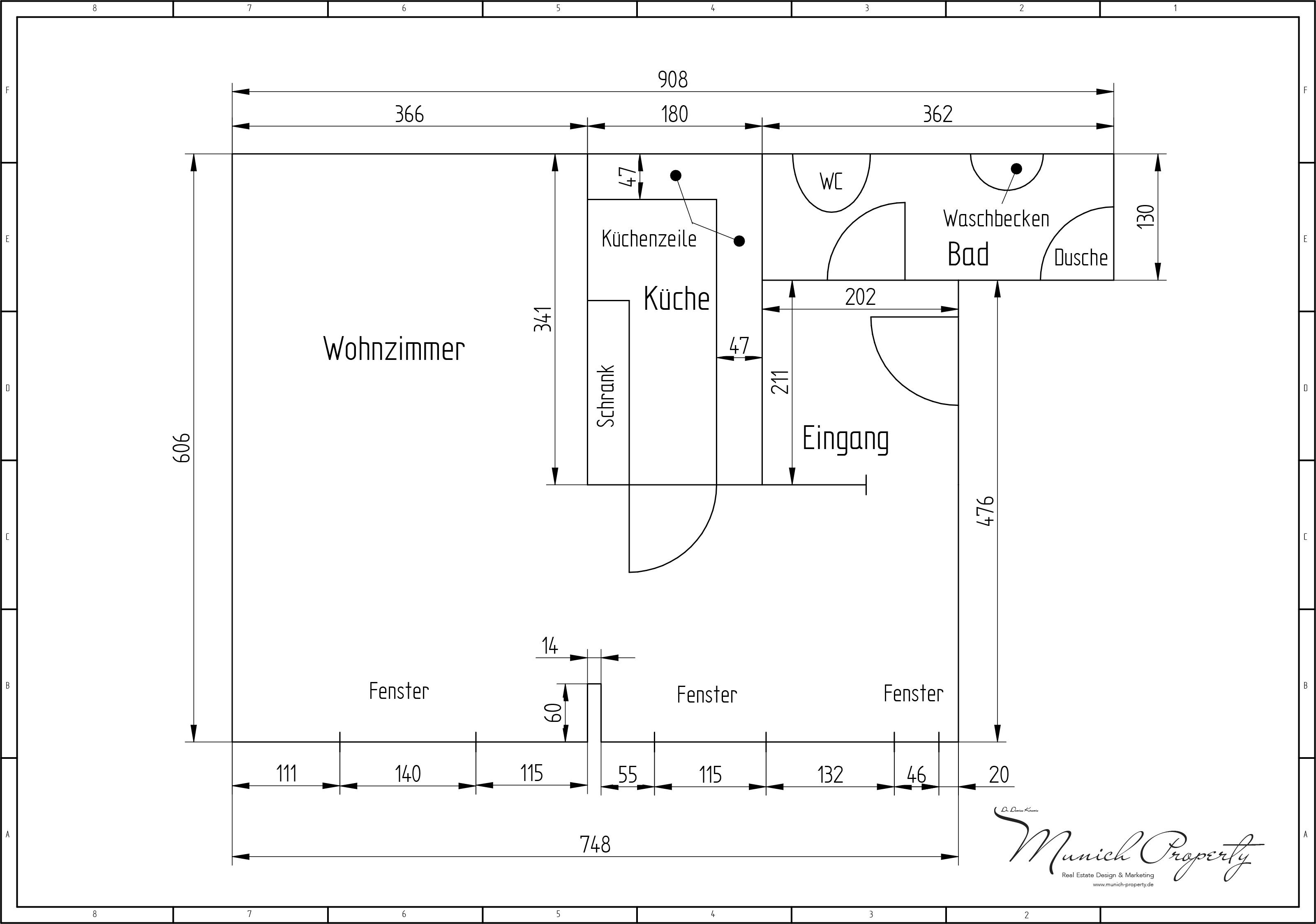 Wohnung mieten München Westend Schwanthalerhöhe: 2 Zimmer Altbau Grundriss